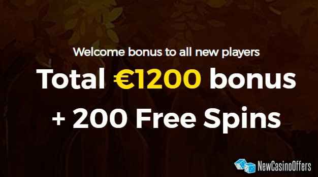 As a new player you will be given up to € 1200 bonus and 200 free spins