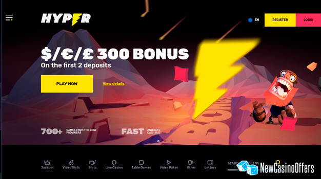 Hyper Casino is known for its good first deposit bonuses and other deals